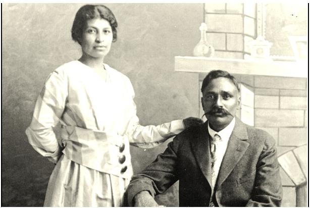 """(From Karen Leonard's Punjabi Mexican American Papers/ Courtesy of Dept. of Special Collections, Stanford University Libraries ) - Valentina Alvarez and Rullia Singh are seen posing for their wedding photo in 1917. They are among the thousands of Punjabi-Mexican couples which sprouted up across the Southwestern United States in lieu of anti-immigration laws."" (source: The Washington Post)"