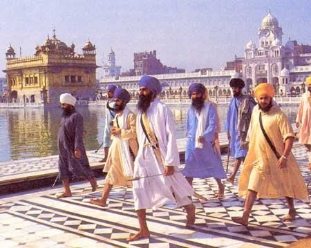 Photo: Jarnail Singh Bhindranwale at the Darbar Sahib (Golden Temple, Amritsar, Punjab) with his entourage