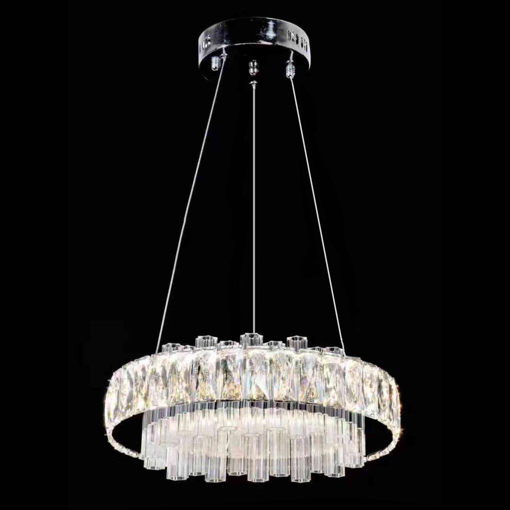 A sospensione in cristallo con altezza regolabile, 44 pendenti in vetro,. 9923 Lampadari A Sospensione Lampadario A Sospensione Design Moderno Pendenti In Cristallo Codice 9923