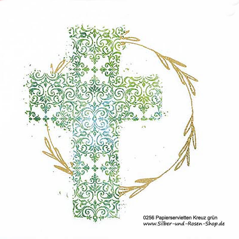 Papierservietten Kreuz grn Kommunion Konfirmation bestellen