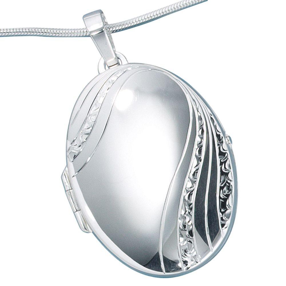 Sehr groer Medaillon Anhnger oval 925 Sterling Silber