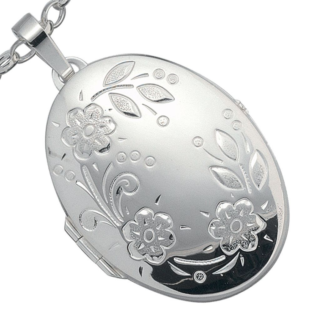 Sehr groes Medaillon oval 925 Sterling Silber Schmuck