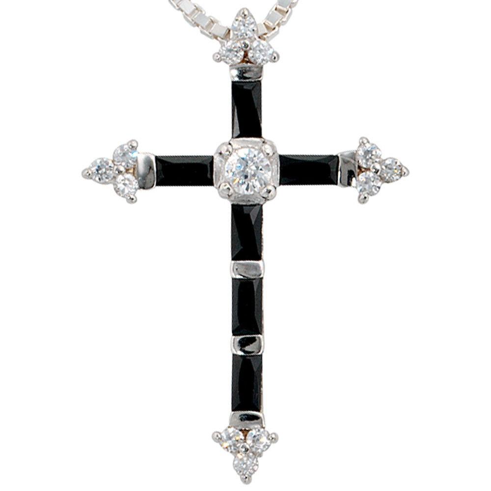 Anhnger Kreuz aus 925 Sterling Silber mit Zirkonia wei