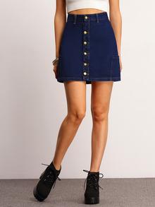 Blue Front Single-breasted Denim Skirt