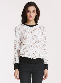White Long Sleeve Floral Crochet Lace Sweatshirt