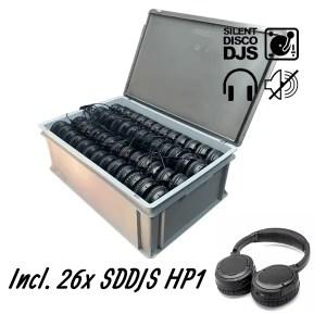 SDDJS CR261 Silent Disco Set met 26x HP1 hoofdtelefoon