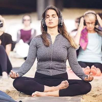 Silent disco yoga meditation in brighton