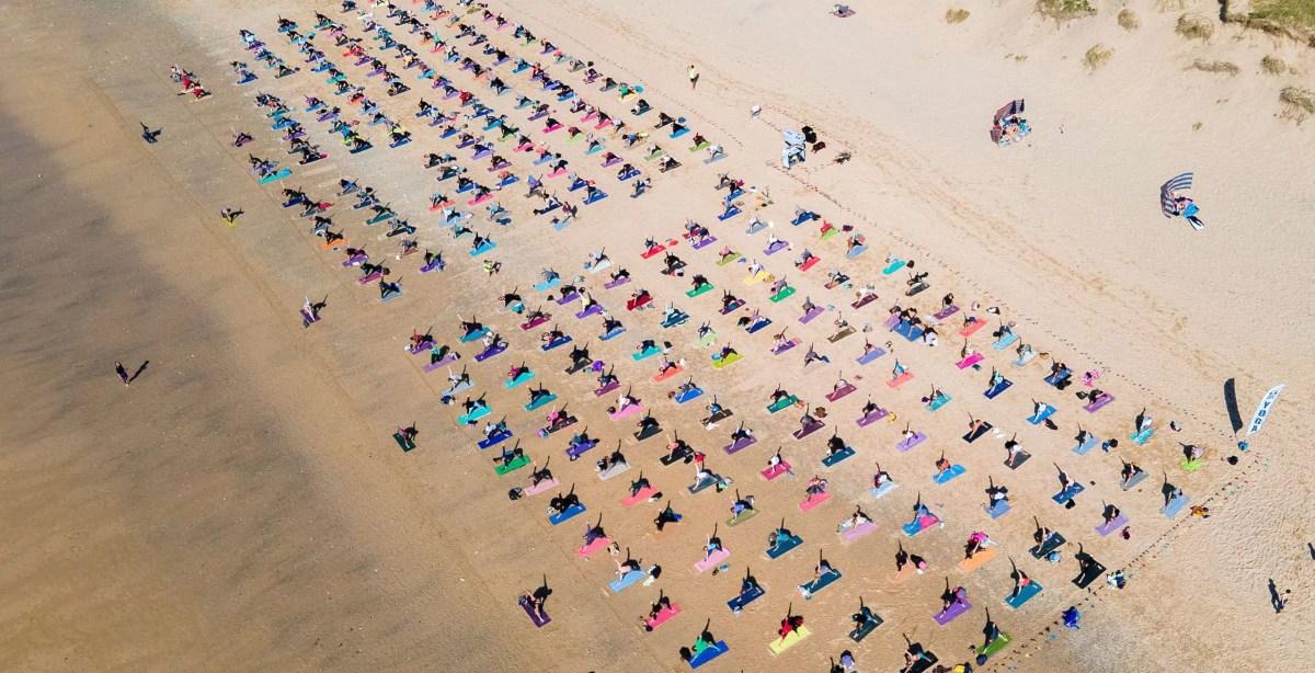 silent disco yoga beach yoga newquay