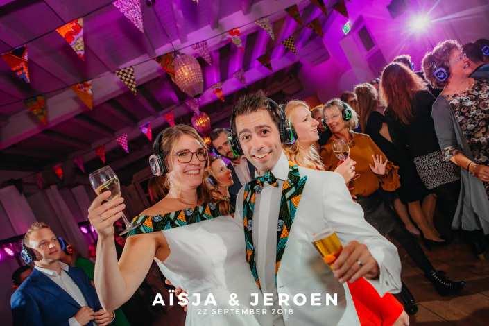 silent disco bruiloft feest