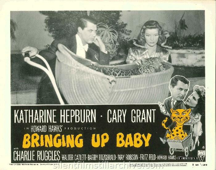 May Robson, Katharine Hepburn and Charles Ruggles in BRINGING UP BABY (1938). 1955 Re-release Lobby Card