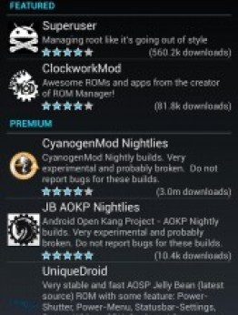 downloadable apps inside ROM manager