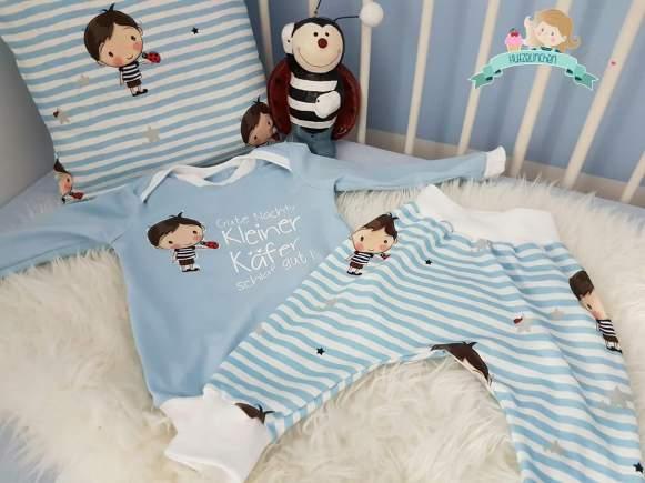 Schlafanzug: Babyshirt / Klimperklein, Hose / RAS, Stoffdesign Stern Depot, Plott selbst gemacht