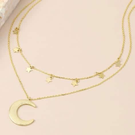 Gold plated layered necklace with stars and moon detail