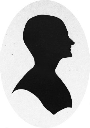 Silhouette of a woman with bald head