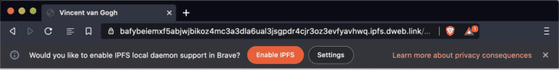 Brave enable IPFS