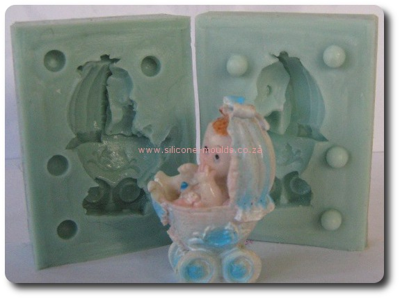 3 D Baby in Pram Silicone Mold