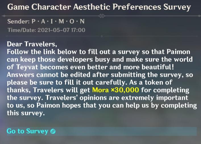 Genshin Impact Character Design Survey