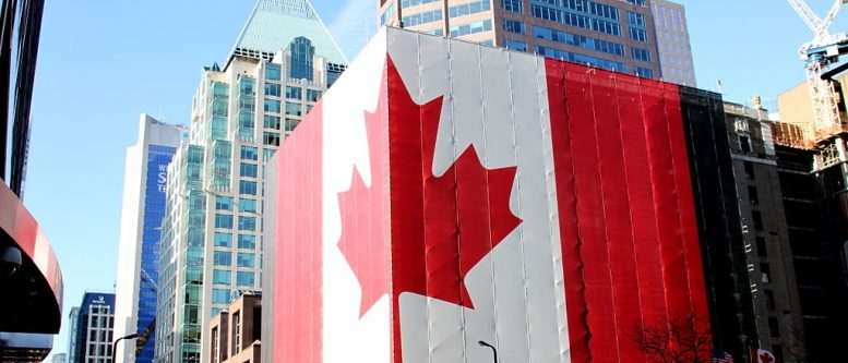 Canadian flag on building in Vancouver