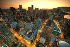 Downtown Vancouver Sunset as iBankEX Mobile App is Live