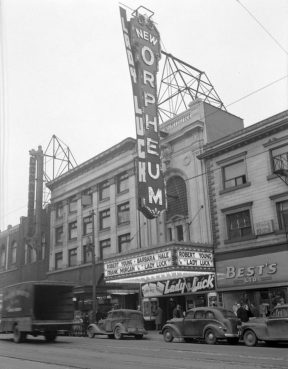 The Orpheum Theatre with advertising for the movie Lady Luck, circa 1946.