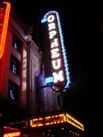 The Orpheum Theatre 2005, advertising the Vancouver Symphony Orchestra.
