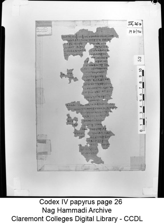 Nag Hammadi Codex IV papyrus page 26