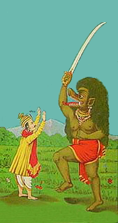 A demon of Kali yuga with sword in a painting by Raja Ravi Varma A lithograph press founded by Indian artist Ravi Varma in 1894.