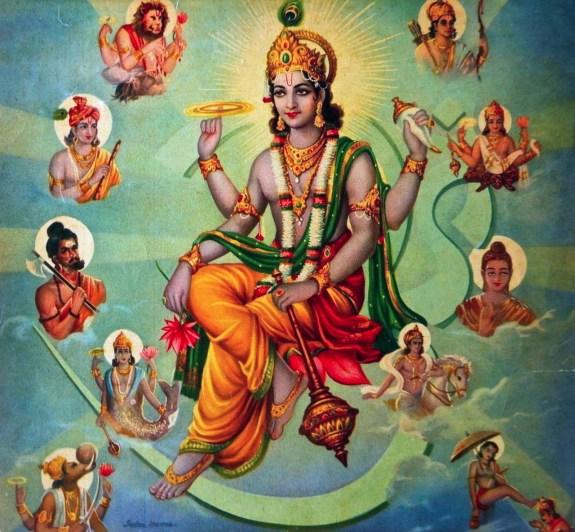 Hindu god Vishnu surrounded by his Avatars 1910