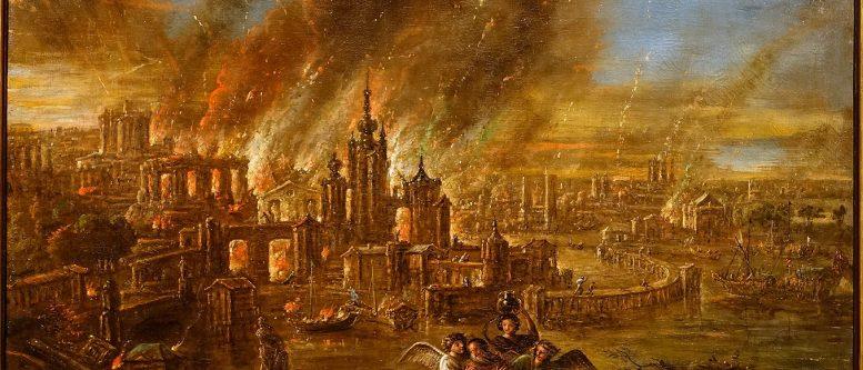 Sodom and Gomorrah afire by Jacob de Wet II, 1680