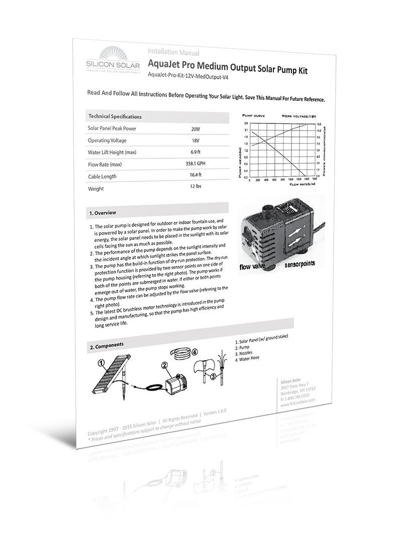 Solar Water Fountain Medium Output Pump Kit 12-24V 360 GPH