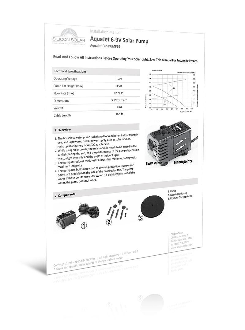 Solar Powered Water Fountain Kit 6-9V Pump