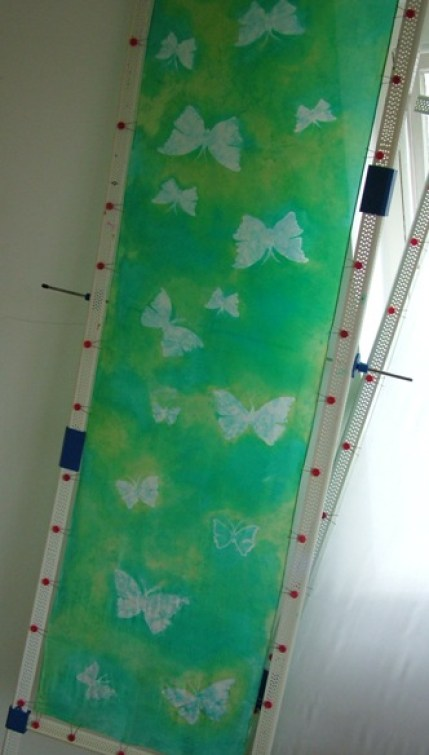 The completed butterfly silk scarf ready for steaming