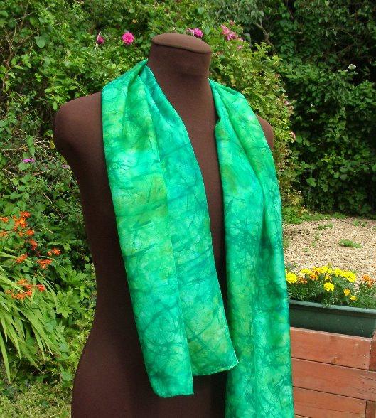silkandart green chrysocolla jade batik hand painted silk scarf fionastolze