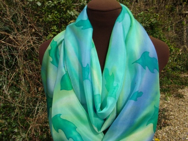 The silk scarf displayed out in the sun