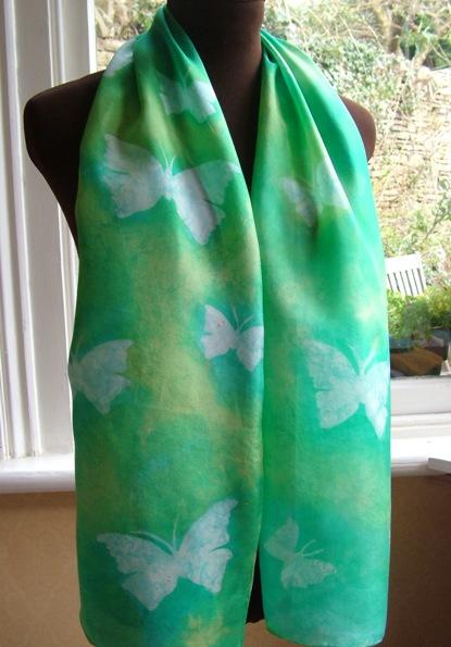 hand painted silk scarf green butterfly silkandart fionastolze