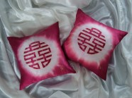 hand painted silk cushion double happiness fionastolze silkandart