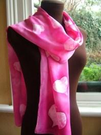 Loving Hug Pink batik silk scarf