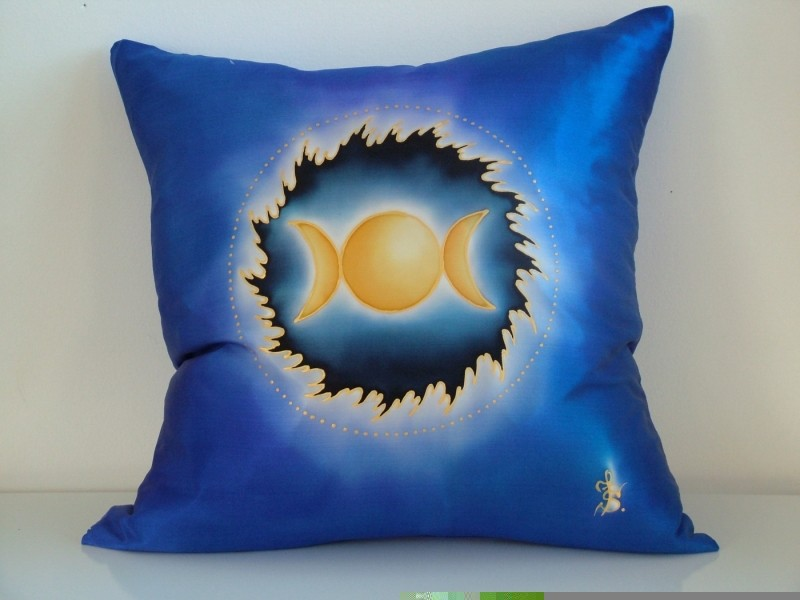 hand painted silk cushion triple moon fionastolze silkandart