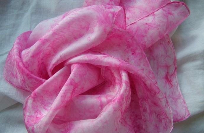 Pink hand painted silk scarf pongee silkpainting wrap shawl fionastolze silkandart