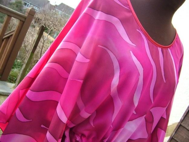 pink silk kaftan hand painted silk painting silk clothing fionastolze silkandart