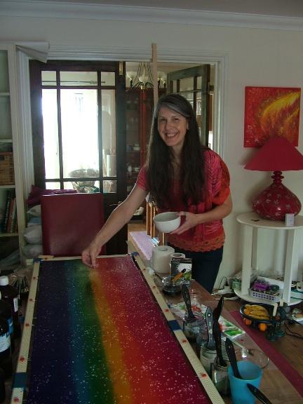 Fiona Stolze rainbow silk scarf