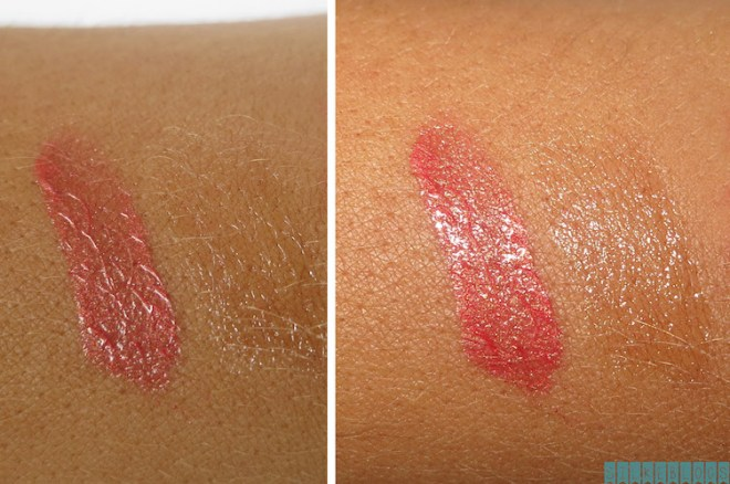 Maybelline New York Superstay 24HR Lipstick in Cosmic Coral Swatches links: zonder flits - rechts: met flits