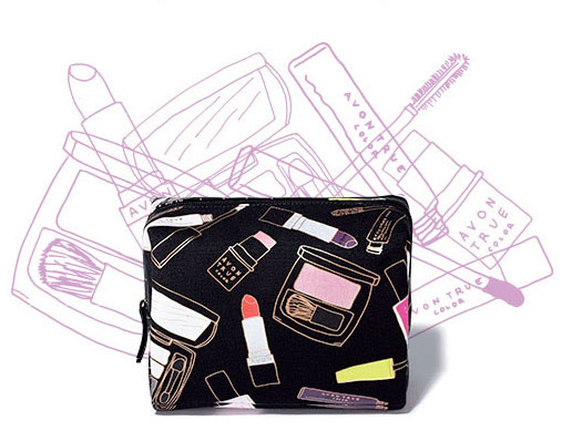 Cosmetics bag with Avon's exclusive beauty print