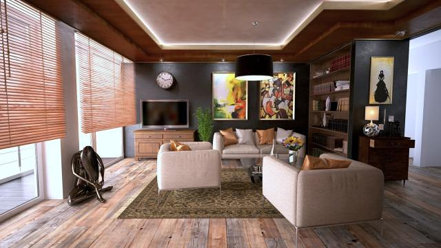 a living room with furniture