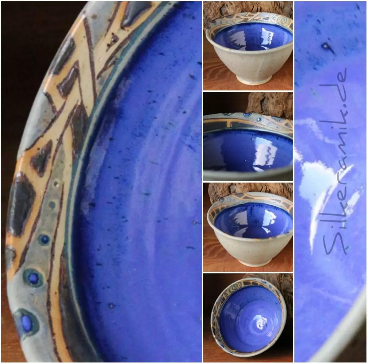 Steinzeug-Schale blau Unikat