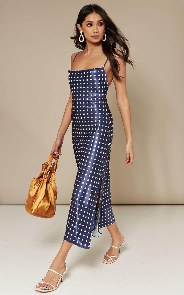 Blue satin midi dress in small white polka dot print