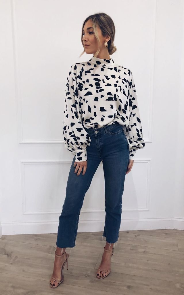 Oversized long-sleeve top in black and white