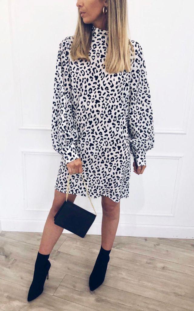 Fifi smock dress in leopard print