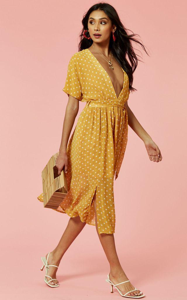 Polka dot midi dress in yellow