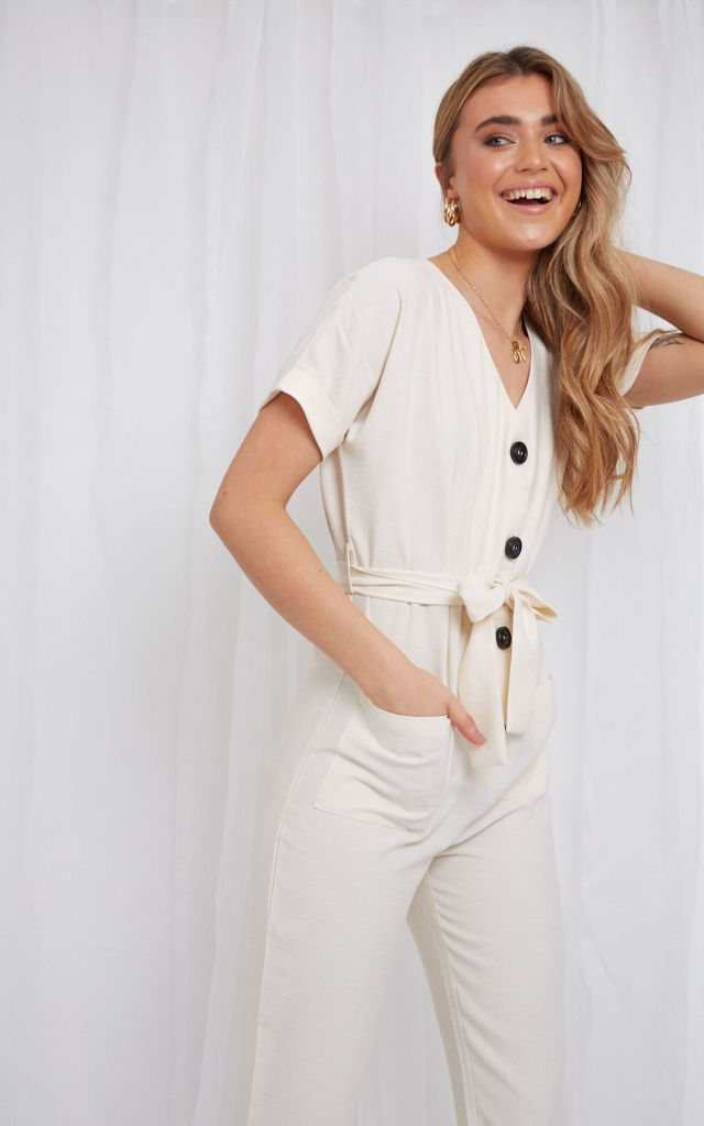 Button down jumpsuit in cream